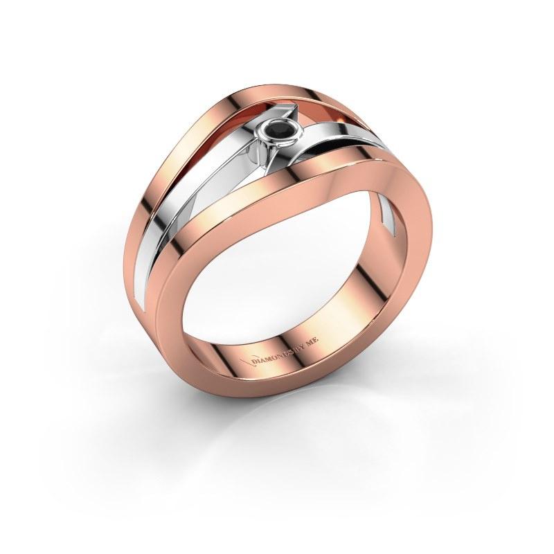 Bague Carlijn 585 or rose diamant noir 0.036 crt