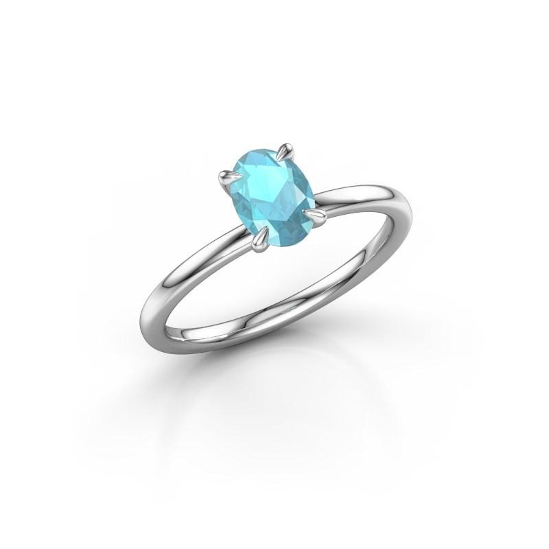 Verlovingsring Crystal OVL 1 585 witgoud blauw topaas 7x5 mm