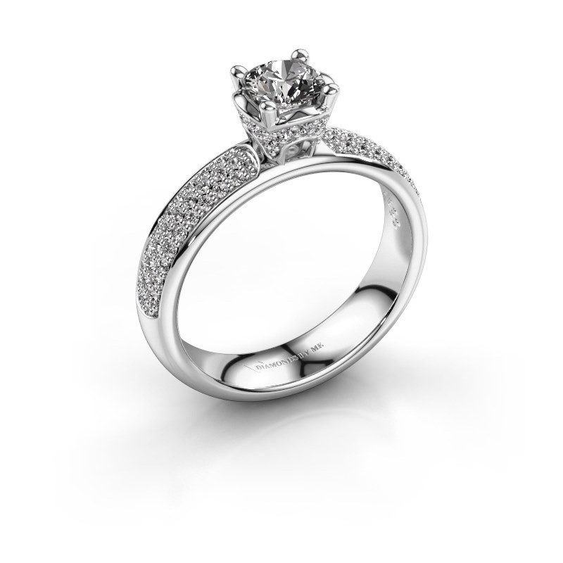 Aanzoeksring Ecrin 585 witgoud diamant 0.989 crt