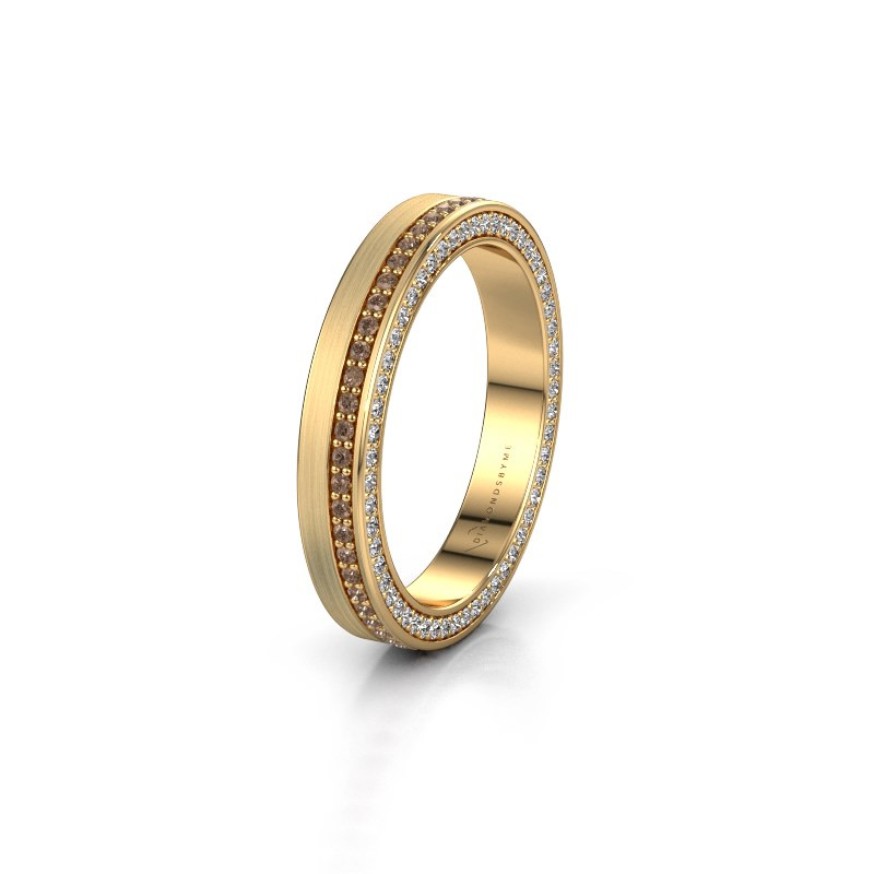Trouwring WH2214L15BM 375 goud bruine diamant 0.55 crt ±3,5x2 mm