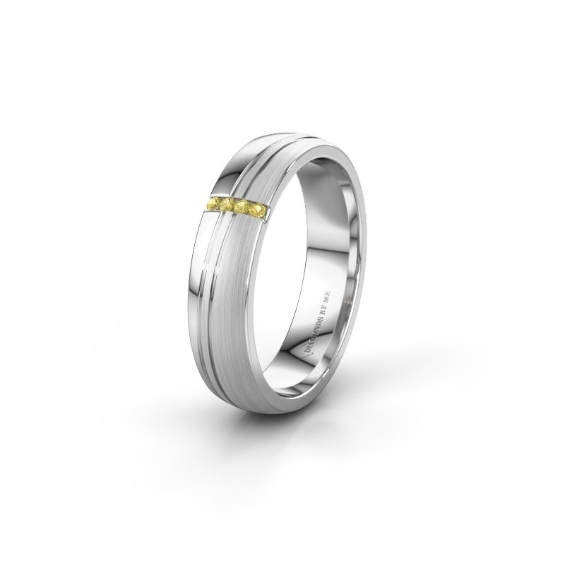 Huwelijksring WH0909L25X 585 witgoud gele saffier ±5x1.5 mm