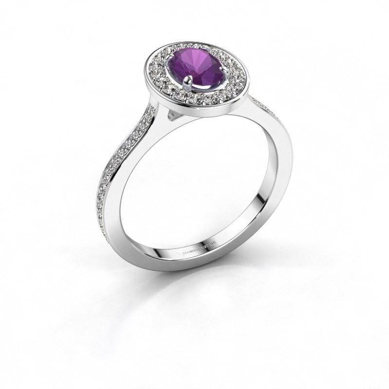 Ring Madelon 2 950 platina amethist 7x5 mm