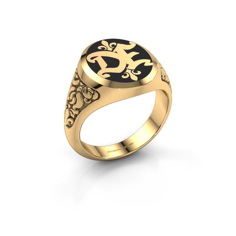 Monogram ring Brian Emaille 585 goud zwarte emaille