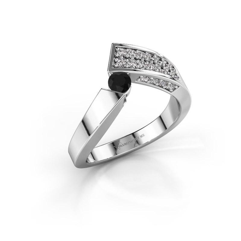 Bague Evie 925 argent diamant noir 0.486 crt