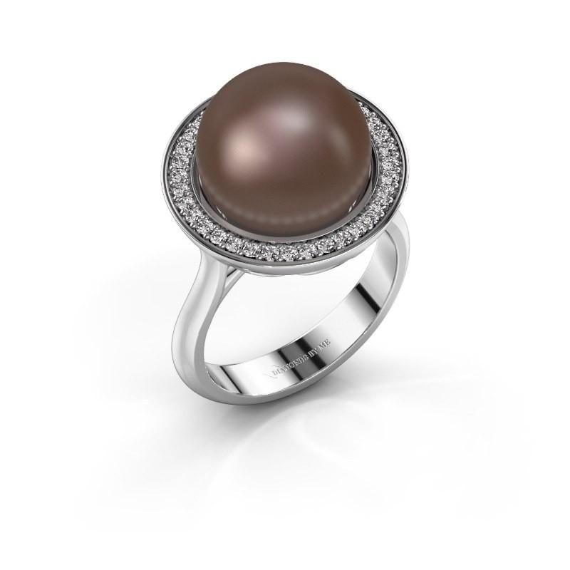 Ring Grisel 925 zilver bruine parel 12 mm