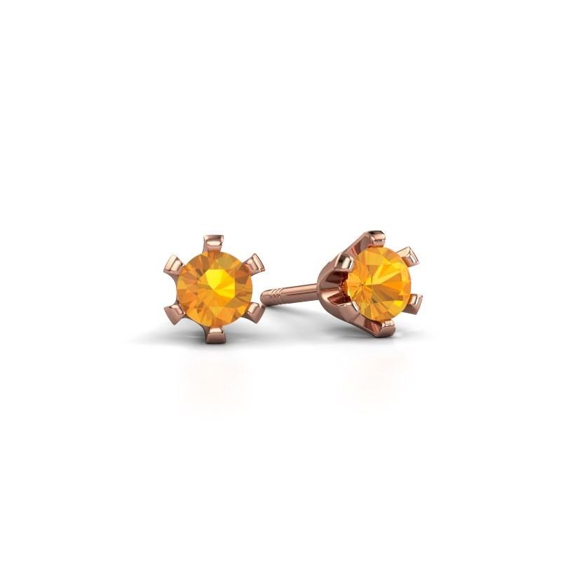 Stud earrings Shana 375 rose gold citrin 4 mm