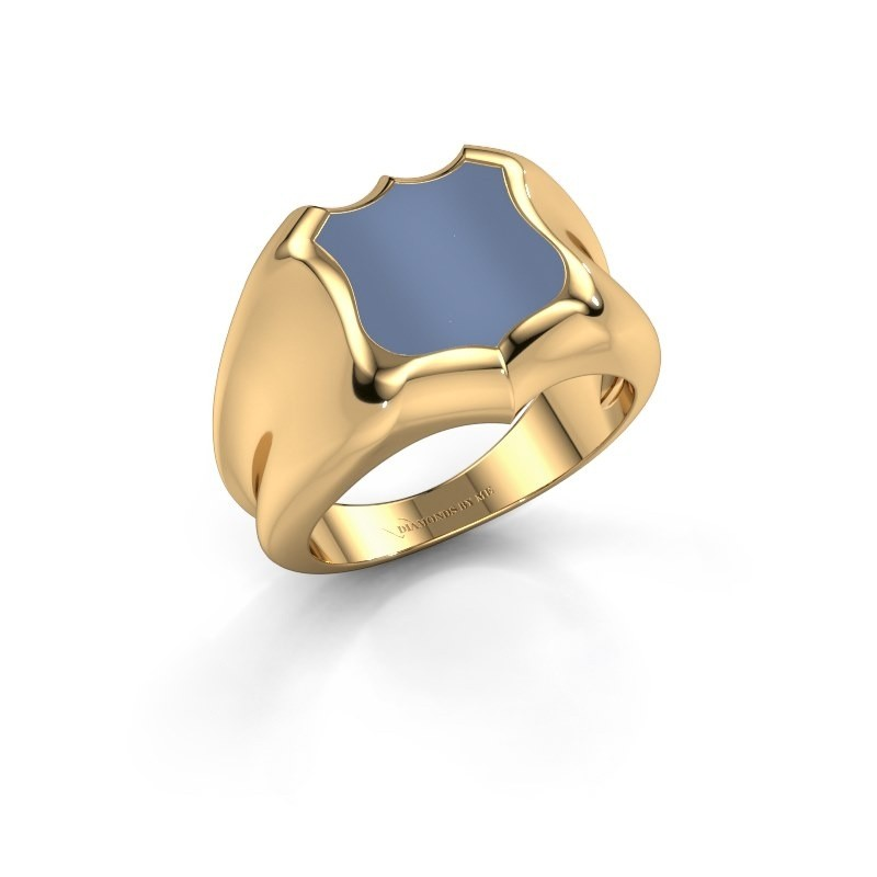 Signet ring Nevin 585 gold light blue sardonyx 12x12 mm