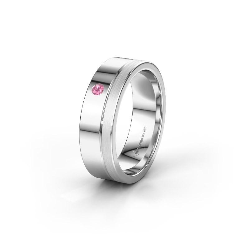 Trouwring WH0301L16APM 950 platina roze saffier ±6x1.7 mm