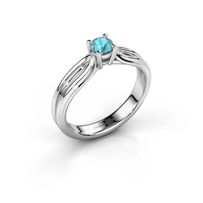 Verlovingsring Antonia 1 950 platina blauw topaas 4 mm