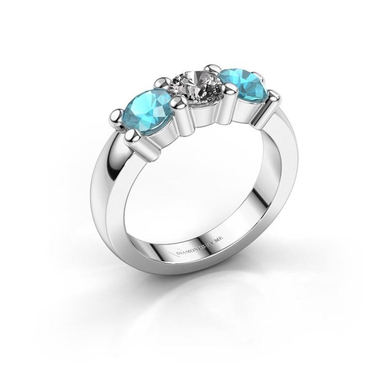 Verlobungsring Yasmin 3 585 Weißgold Diamant 0.50 crt