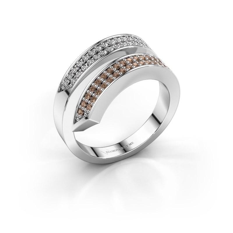 Ring Pien 950 platina bruine diamant 0.450 crt