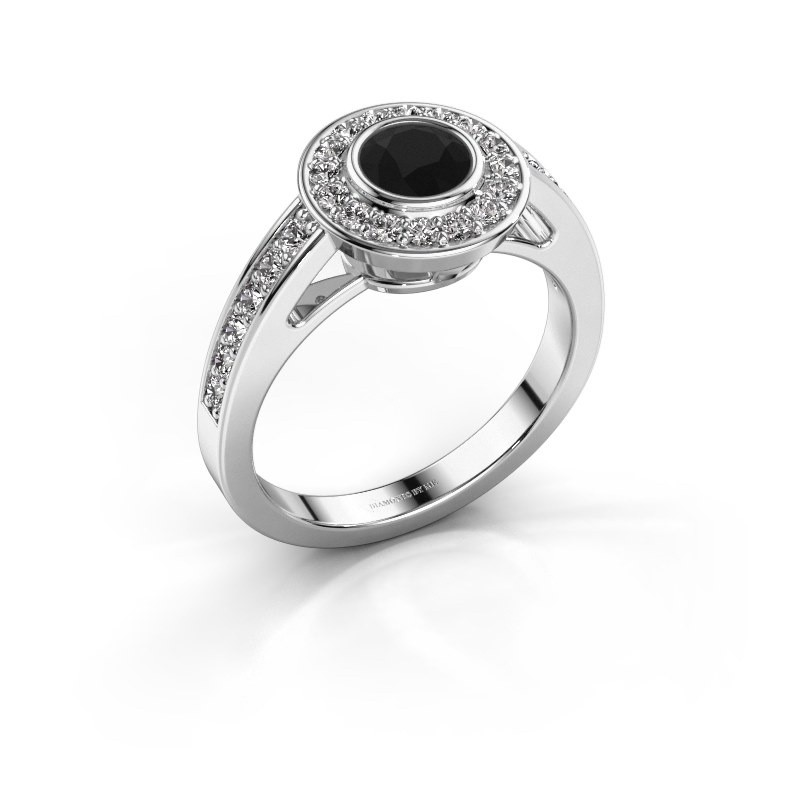 Verlovingsring Raven 1 585 witgoud zwarte diamant 1.032 crt