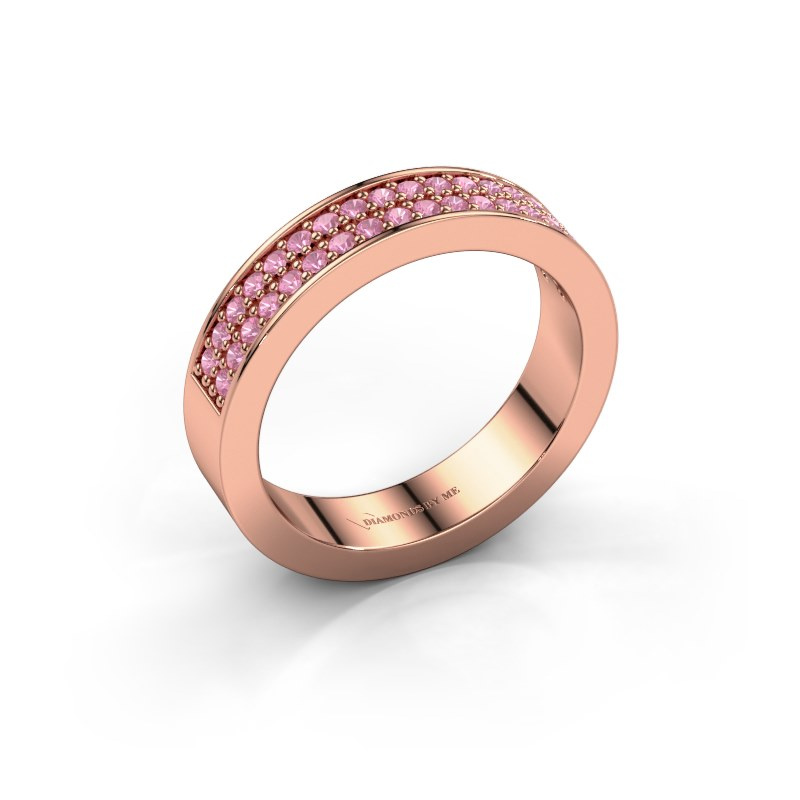 Aanschuifring Catharina 4 585 rosé goud roze saffier 1.3 mm