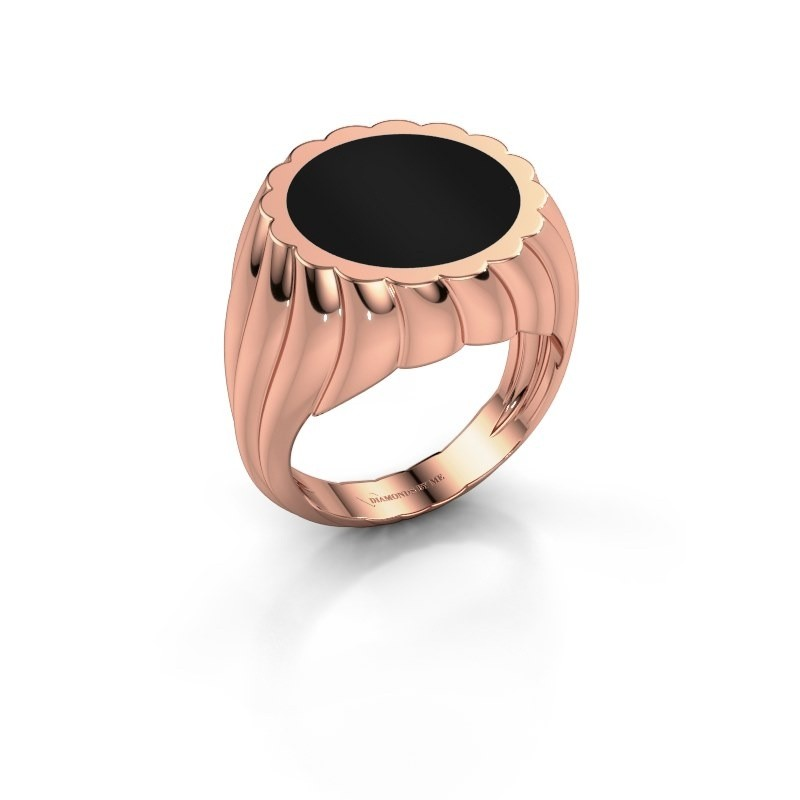 Zegelring Mano 375 rosé goud onyx 13 mm