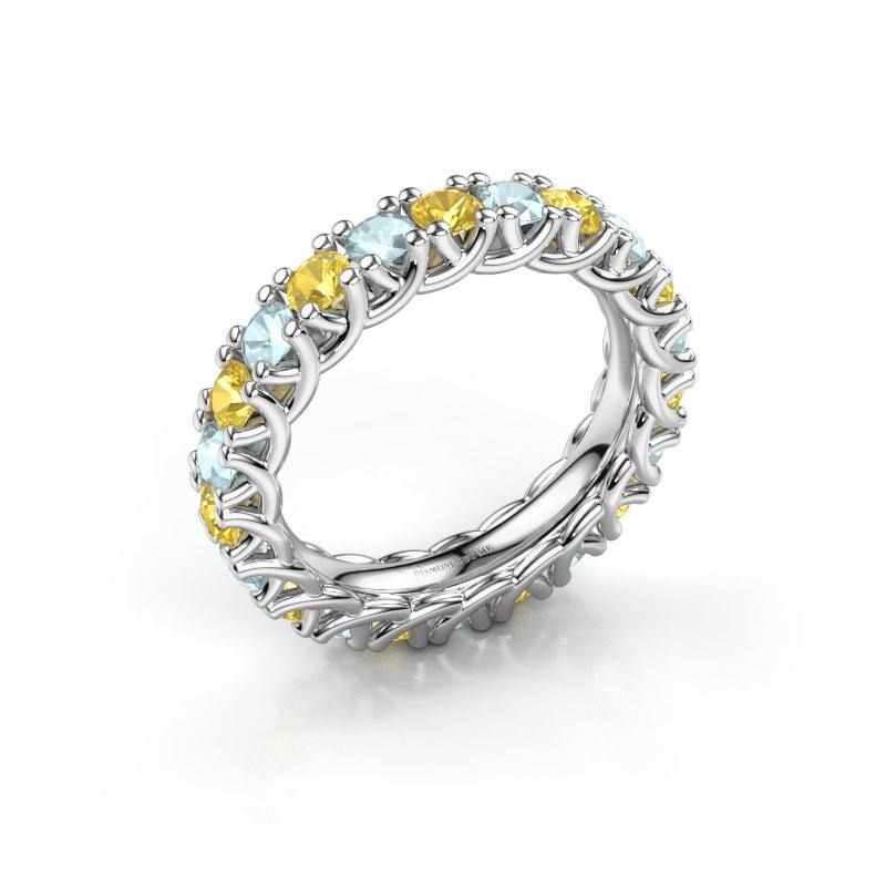 Ring Fenna 585 witgoud gele saffier 3 mm