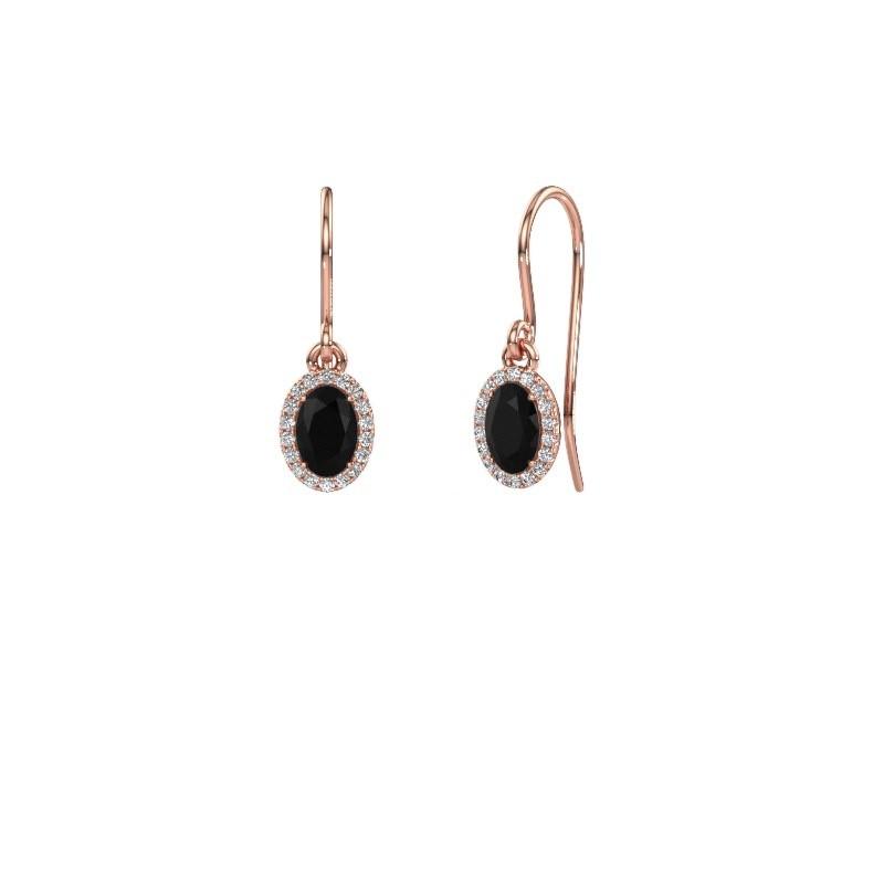 Ohrhänger Seline ovl 375 Roségold Schwarz Diamant 1.360 crt