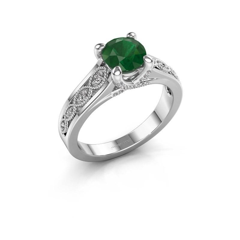 Engagement ring Clarine 585 white gold emerald 6.5 mm