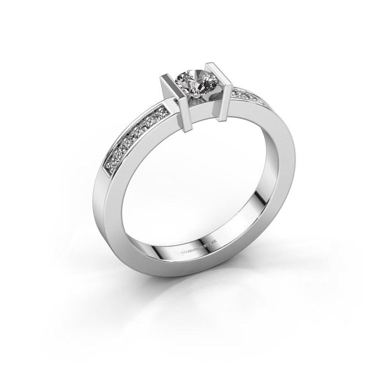 Aanzoeksring Maryam 585 witgoud diamant 0.40 crt