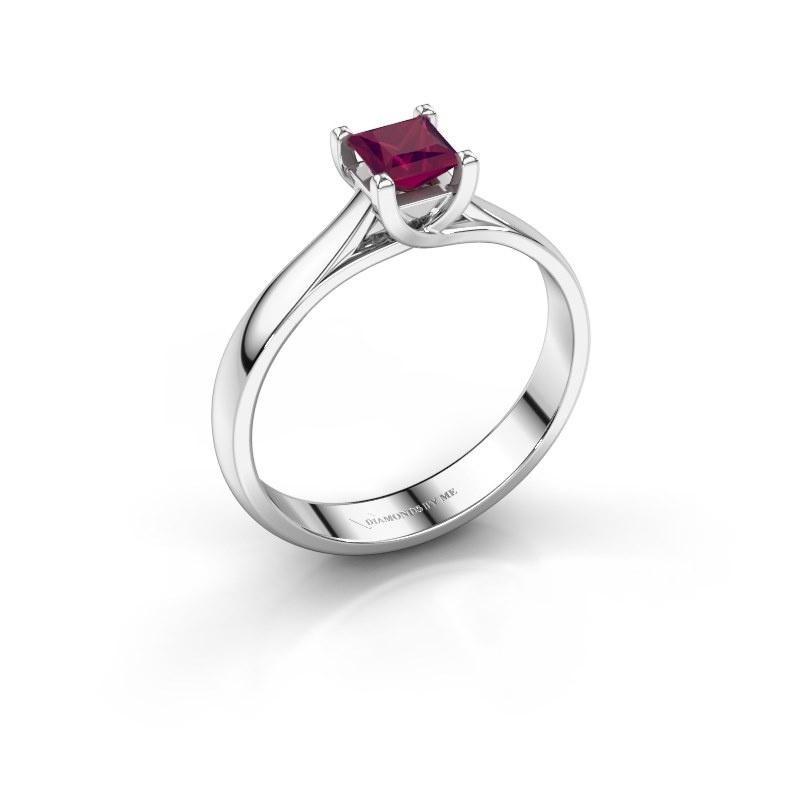 Engagement ring Mia Square 925 silver rhodolite 4 mm