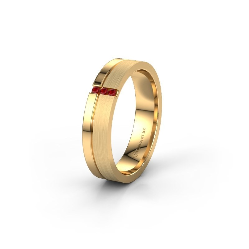 Wedding ring WH0157L14XPM 585 gold ruby ±0.18x0.05 in