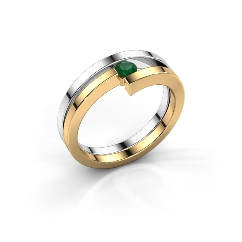 Ring Nikia 585 witgoud smaragd 3.4 mm
