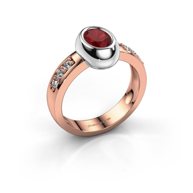 Ring Charlotte Oval 585 rose gold ruby 7x5 mm