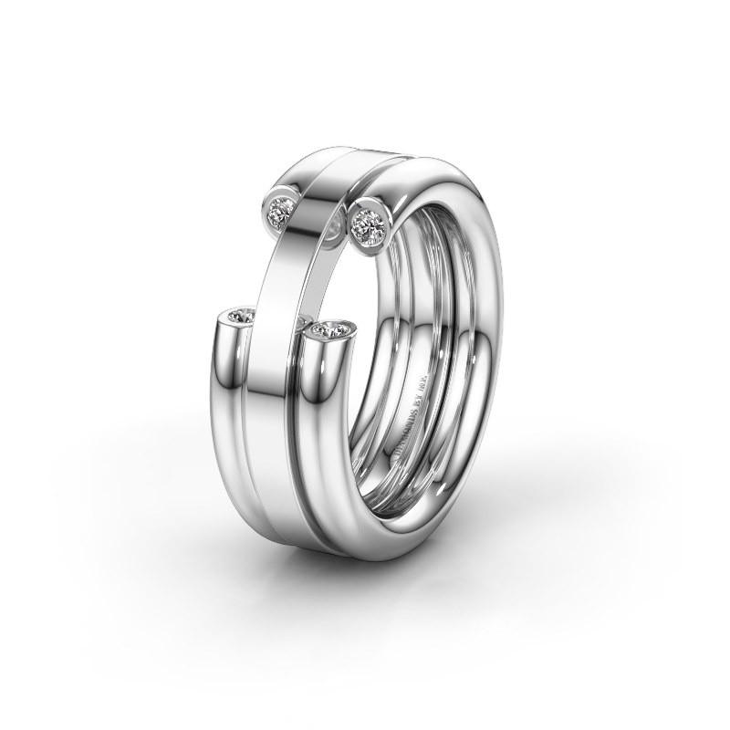 Wedding ring WH6018L 925 silver zirconia ±8x3 mm