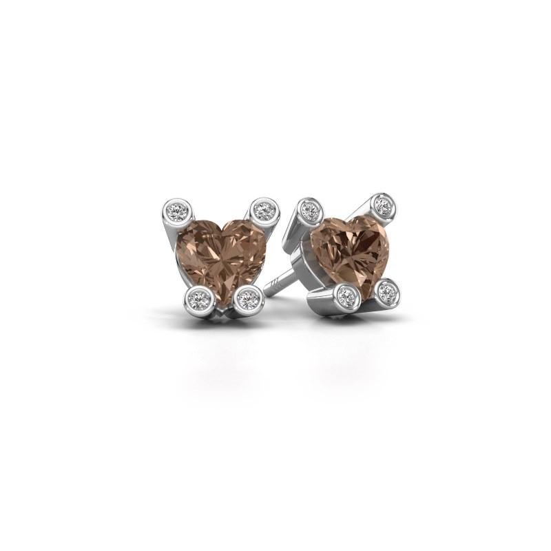 Oorstekers Cornelia Heart 375 witgoud bruine diamant 1.64 crt