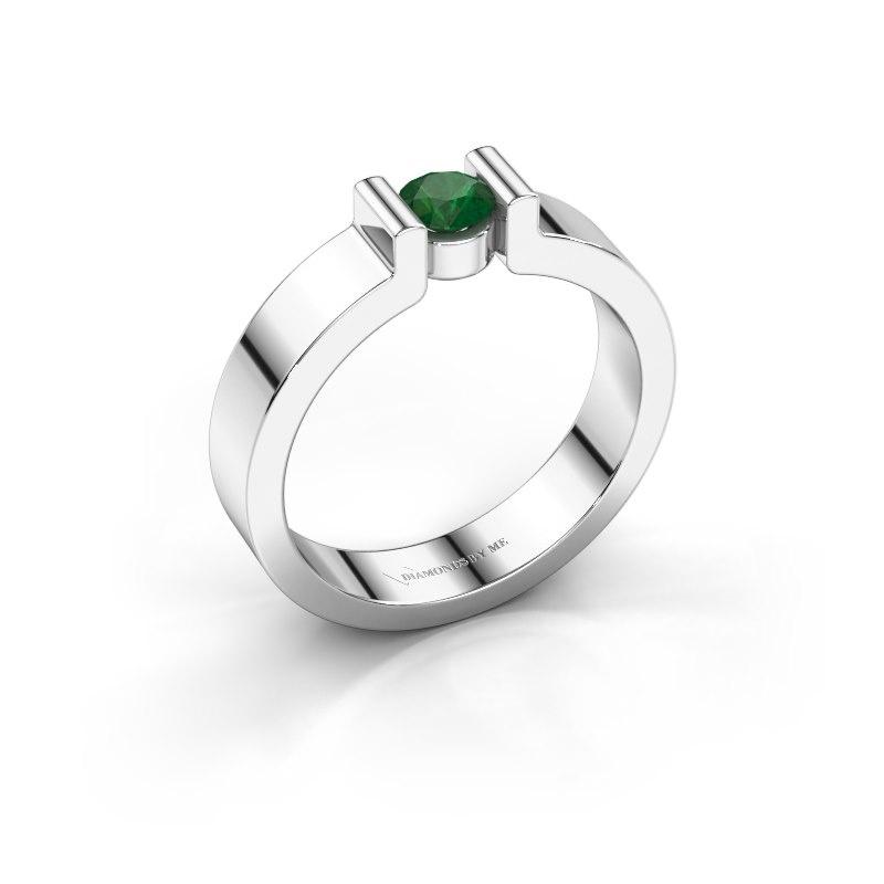 Verlovingsring Isabel 1 925 zilver smaragd 4 mm