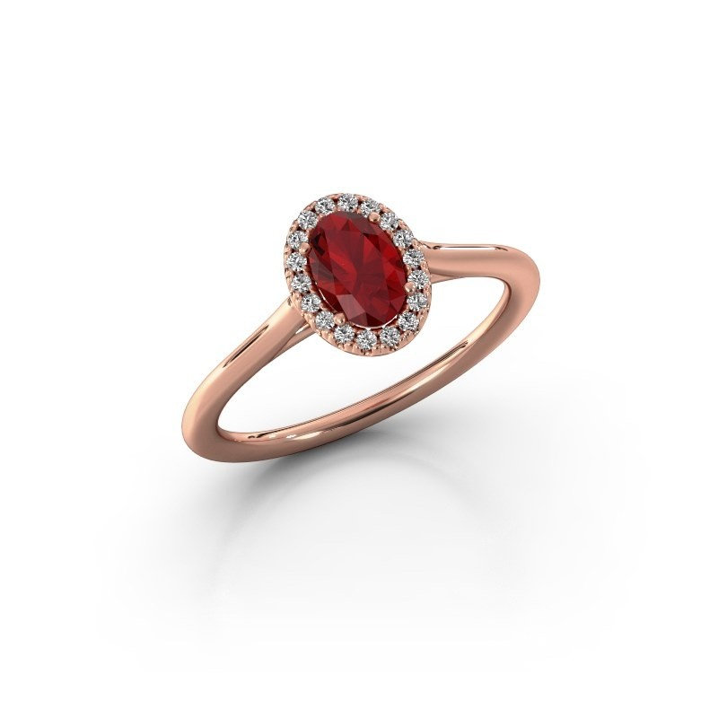 Engagement ring Seline 1 585 rose gold ruby 6x4 mm