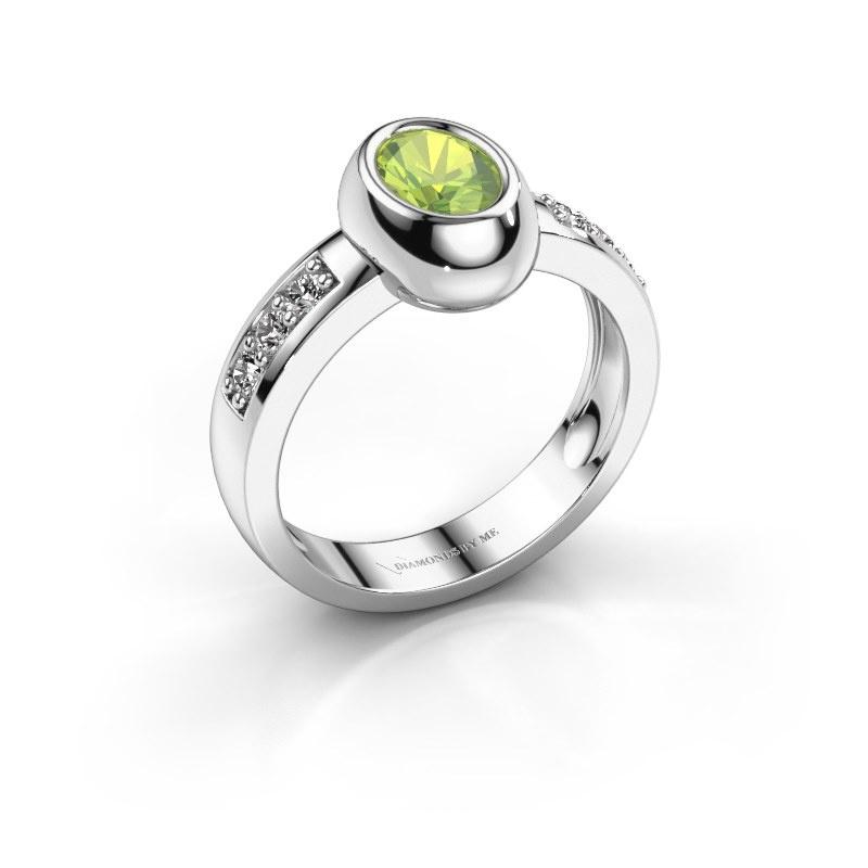 Ring Charlotte Oval 925 silver peridot 7x5 mm