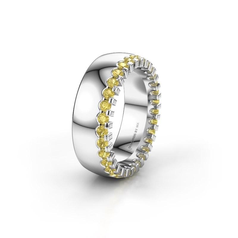 Wedding ring WH6120L27C 950 platinum yellow sapphire ±7x2.2 mm