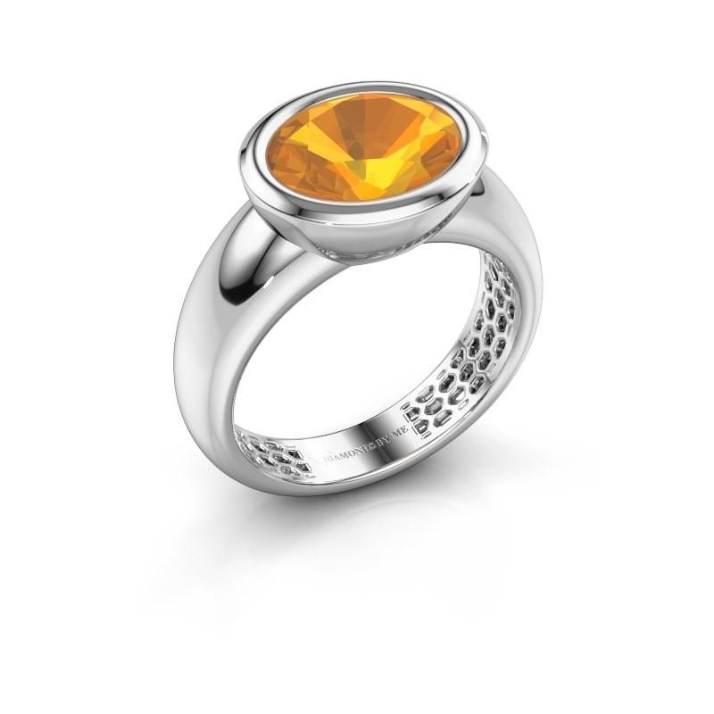Ring Evelyne 585 witgoud citrien 10x8 mm