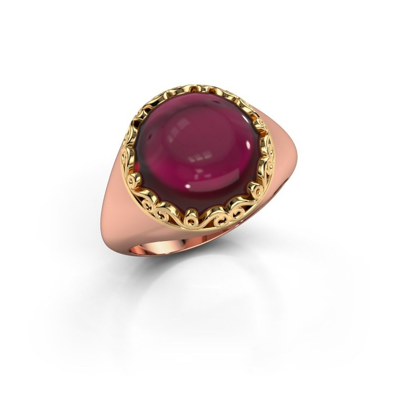Ring Birgit 585 rosé goud granaat 12 mm