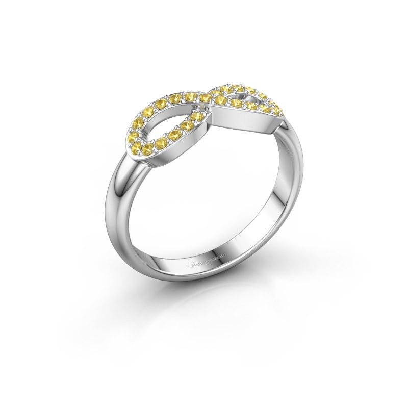 Ring Infinity 2 585 witgoud gele saffier 1.2 mm