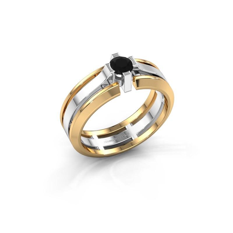 Herrenring Sem 585 Weißgold Schwarz Diamant 0.48 crt