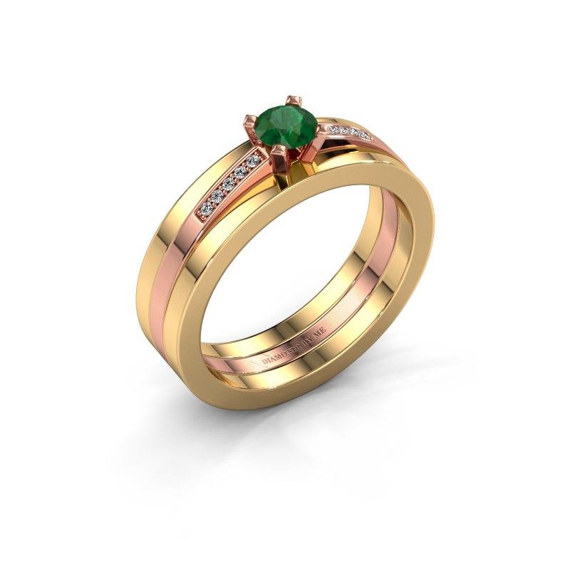 Verlobungsring Celeste 585 Roségold Smaragd 4 mm