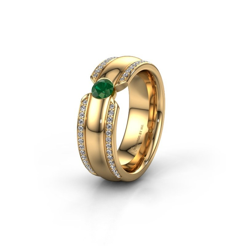Trouwring WHR0575L 375 goud smaragd ±7x2 mm