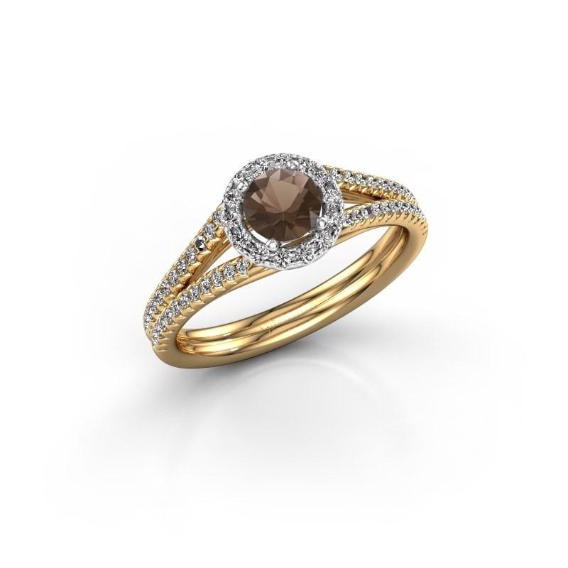 Verlovingsring Verla 2 585 goud rookkwarts 4.7 mm