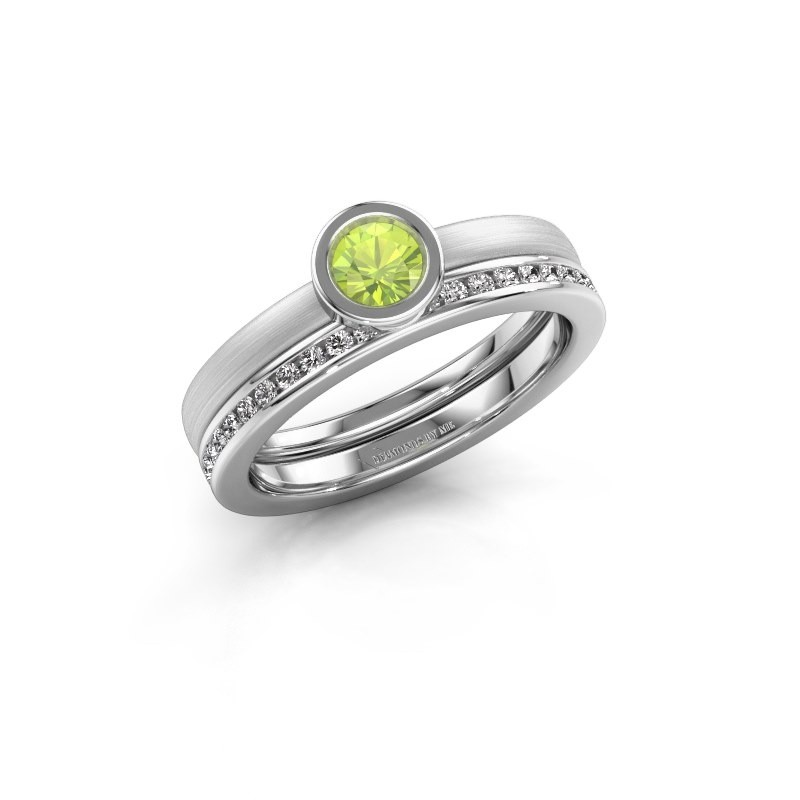 Ring Cara 585 witgoud peridoot 4 mm