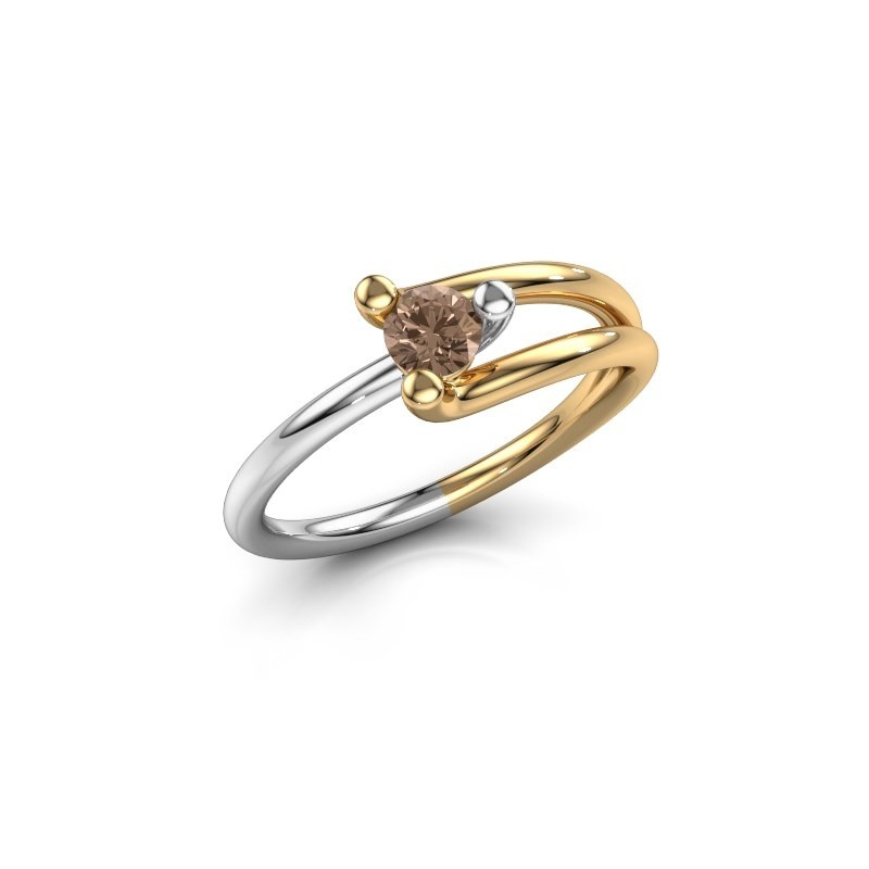 Engagement ring Roosmarijn 585 gold brown diamond 0.25 crt