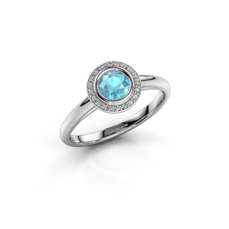 Promise ring Noud 1 RND 585 white gold blue topaz 4.7 mm