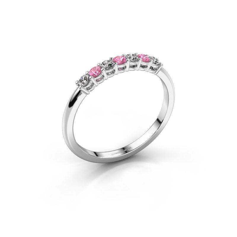Verlovings ring Michelle 7 925 zilver roze saffier 2 mm