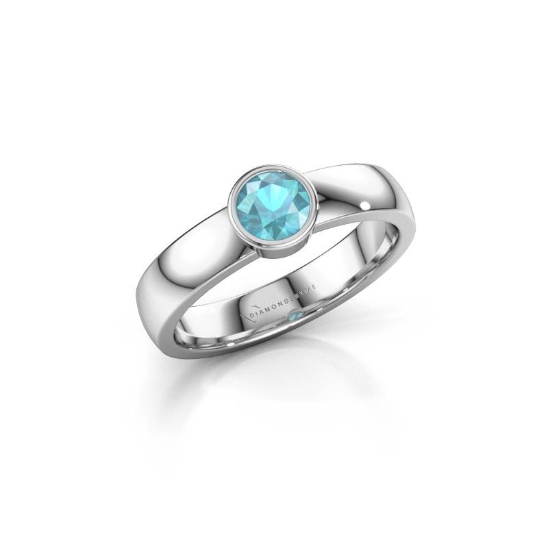Ring Ise 1 585 witgoud blauw topaas 4.7 mm