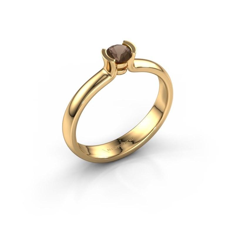 Engagement ring Ophelia 375 gold smokey quartz 4 mm