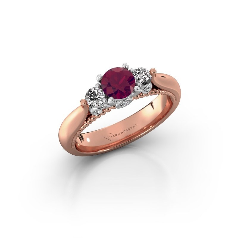 Verlovingsring Tiffani 585 rosé goud rhodoliet 5 mm