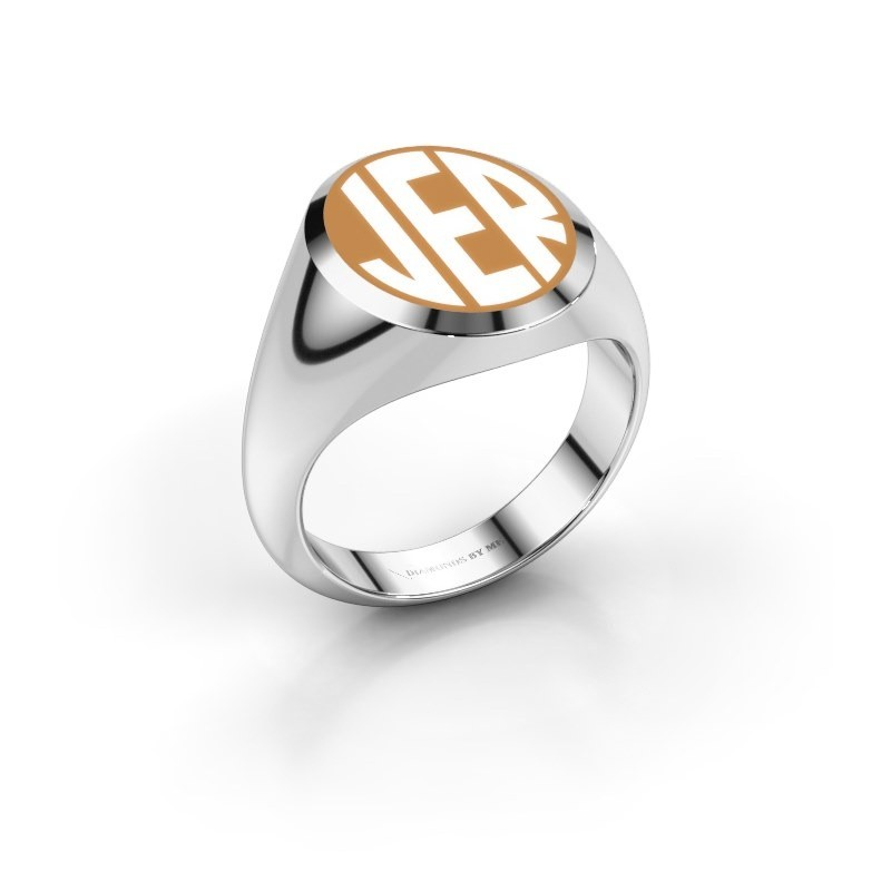 Monogram ring Paul emaille 925 zilver