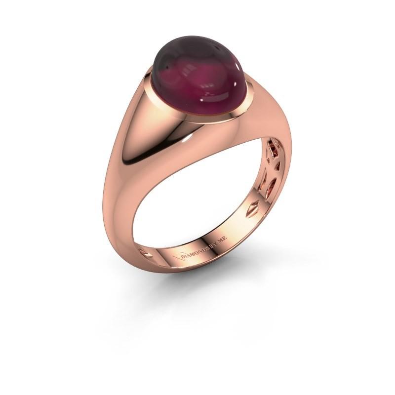 Ring Zaza 375 rosé goud rhodoliet 10x8 mm