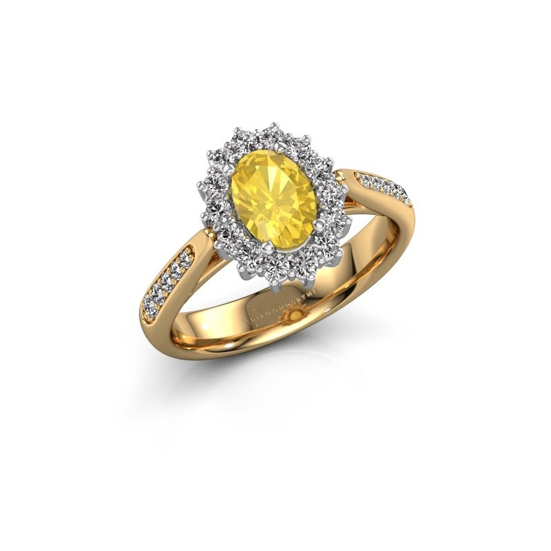 Engagement ring Margien 2 585 gold yellow sapphire 7x5 mm