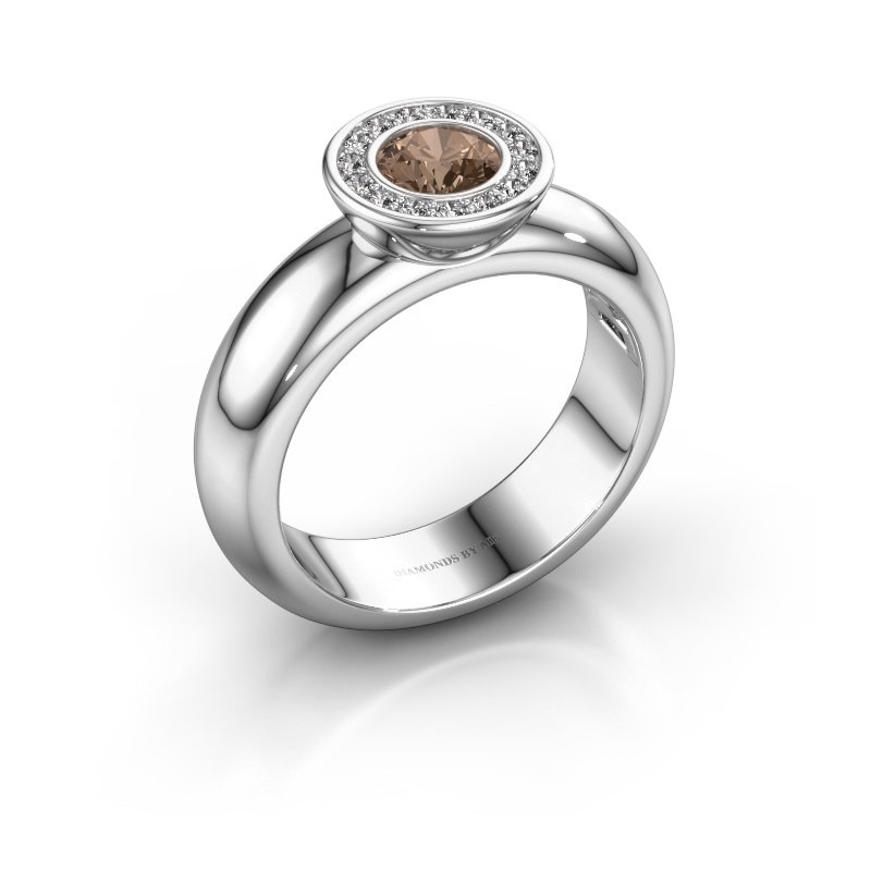 Stapelring Anna 585 witgoud bruine diamant 0.635 crt